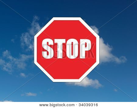 A close up shot of a red stop sign poster