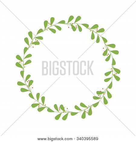 Floral Design Element. Round Frame Made Of Branches With Leaves And Orange Berries. Design Template
