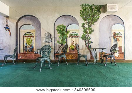 Death Valley Junction, Usa - July 19, 2008: Inside An Old Historic Motel With Paintings  In Village