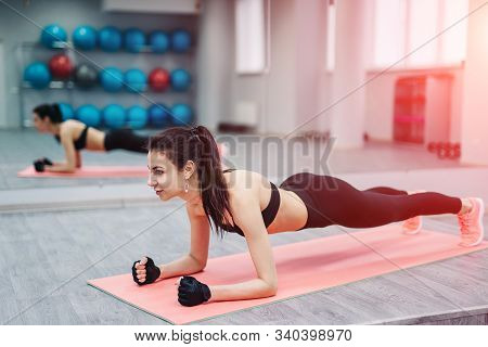 Lath Exercise On The Gym Background, Strenght Training, Fitness Time, Beautiful Fit Woman, Full Leng