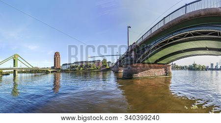 Frankfurt, Germany - May 16, 2017: Panorama Of River Main With Rafter And Ignatz Bubis Bridge. The B