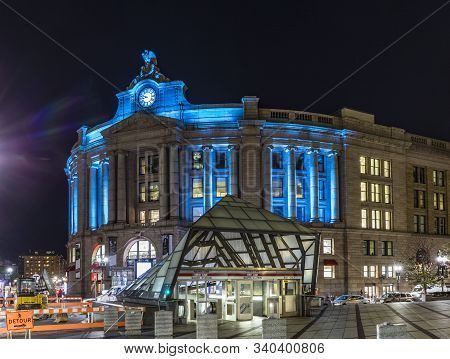 Boston, Usa - Sep 12, 2017:  Illuminated Old South Train Station In Boston By Night. Bostons South S