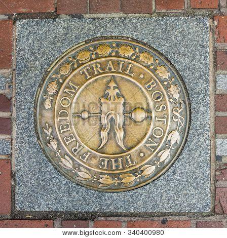 Boston, Usa - Sep 12, 2017: The Marker Boston Freedom Trail Guides The Tourists Around The Attractio