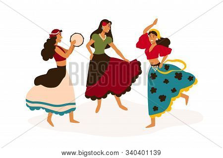 Gypsy Girls Dancing Flat Vector Illustration. Female Dancers In Traditional Clothes With Tambourine