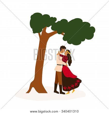 Gypsy Couple Meeting Flat Vector Illustration. Sweethearts Embracing Near Tree Cartoon Characters. Y