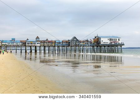 Old Orchard Beach, Usa - Sep 15, 2017: Famous Old Orchard Pier In Old Orchard Beach. The Pier First