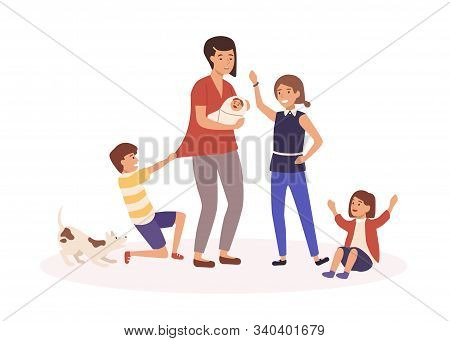 Mother With Many Children Flat Vector Illustration. Tired Single Mom And Naughty Kids Cartoon Charac
