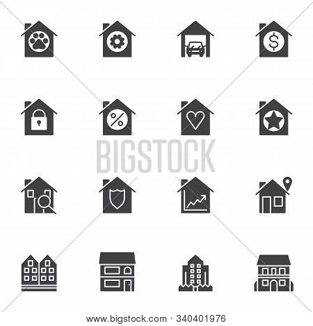 Real Estate Service Vector Icons Set, Modern Solid Symbol Collection, Filled Style Pictogram Pack. S