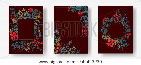 Cute Herb Twigs, Tree Branches, Leaves Floral Invitation Cards Collection. Plants Borders Elegant Ca