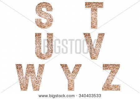 Wicker Font Alphabet S, T, U, V, W, Y, Z Made Of Natural Wicker Background.