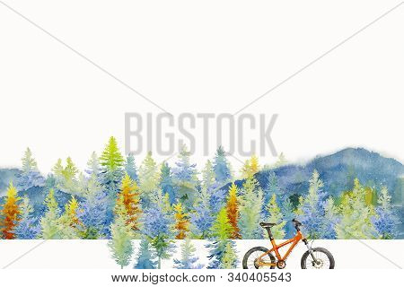 Watercolor Painting Of The Forest Background. Blue Green With Yellow,  Winter Or Spring Woods, Natur