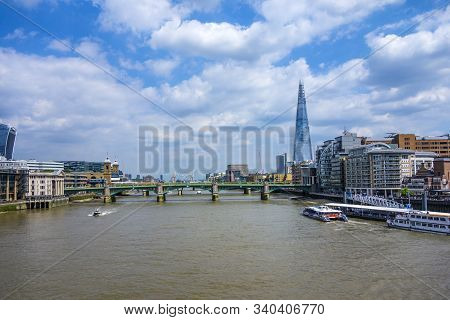 London, Uk - June 17, 2017: London Skyline On River Thames, The Shard Is Visible, Boats On The River