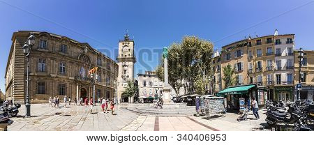 Aix En Provence, France - Aug 13, 2017: People Visit The Central Market Place With The Famous Hotel