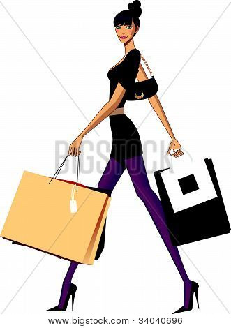side view of woman walking