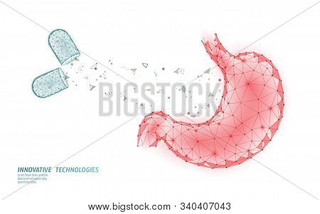 Human Stomach Medical Treatment Concept. Pill Capsule Help Therapy. Digestive System Cancer Abdomen