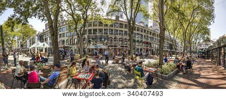 Boston, Usa - Sep 12, 2017:  People Visit Quincy Market Area And Sit Outside To Enjoy The Summer Day