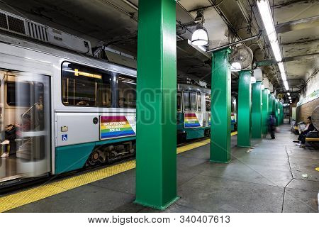Boston, Usa - Sep 12, 2017: People Wait For The Next Metro At Green Line Station. The Boston Metro F