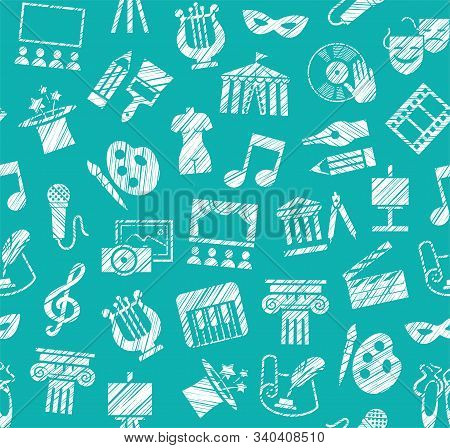 Culture And Art, Seamless Pattern, Shading Pencil, Blue, Vector. Leisure And Cultural Activities. Cu