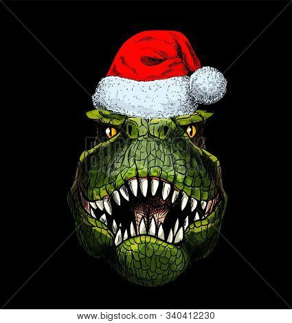 Portrait Of T-rex In Red Santa Hat On Black Bg