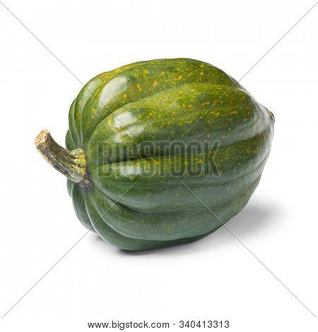 Fresh green acorn squash close up isolated on white background