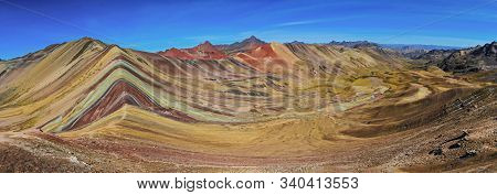 Panoramic View Of Beautiful Colored Rainbow Mountain, Vinicunca, Andes, Cordillera De Los Andes, Cus