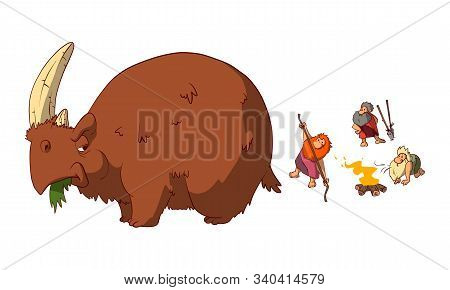 Colorful Vector Illustration Of A Funny Scene Of Prehestoric Cavemen Preparing To Hunt An Angry Wool