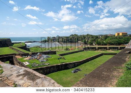 Galle, Sri Lanka - November 21, 2019: Wide Angle View From The Ramparts Of The Dutch Galle Fort On A