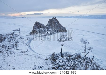 Rock Shamanka. Cape Burhan Winter Landscape. Lake Baikal, Russia