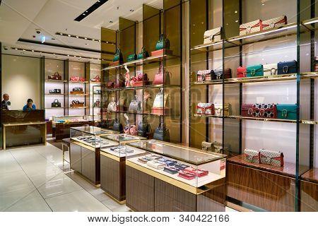 BERLIN, GERMANY - CIRCA SEPTEMBER, 2019: Gucci bags on display at the Kaufhaus des Westens (KaDeWe) department store in Berlin.