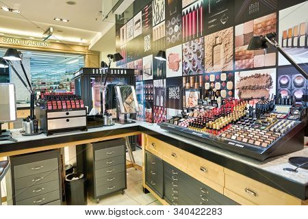 BERLIN, GERMANY - CIRCA SEPTEMBER, 2019: Bobbi Brown make up products on display at the Kaufhaus des Westens (KaDeWe) department store in Berlin.