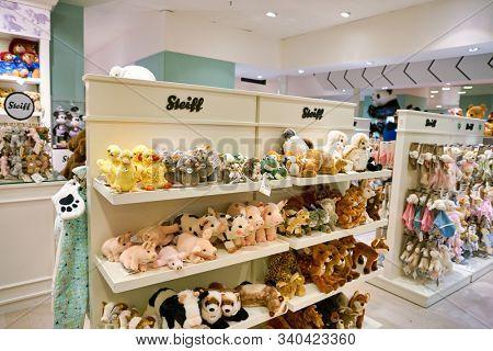 BERLIN, GERMANY - CIRCA SEPTEMBER, 2019: toys on display at the Kaufhaus des Westens (KaDeWe) department store in Berlin.