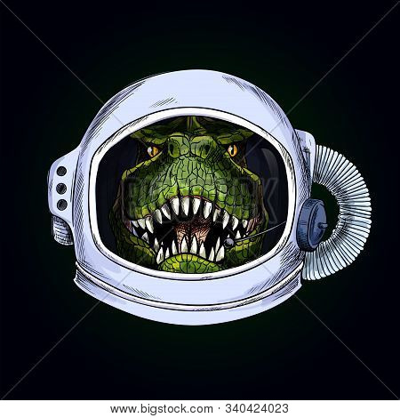 T-rex Head In Space Helmet On Black Bg