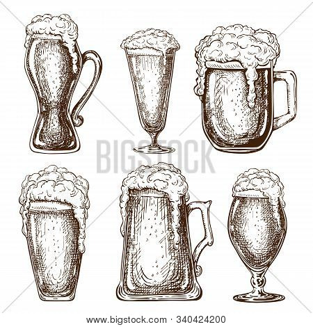 Vector Hand Drawn Full Beer Glasses With Dropping Froth. Beer Mugs Illustration In Vintage Style Iso