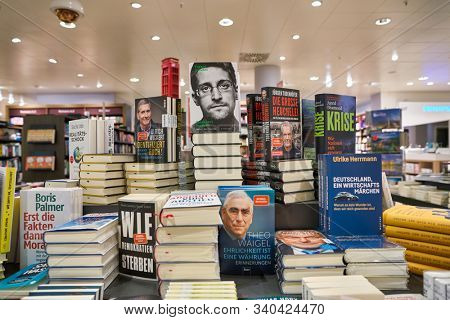 BERLIN, GERMANY - CIRCA SEPTEMBER, 2019: books on display at the Kaufhaus des Westens (KaDeWe) department store in Berlin.