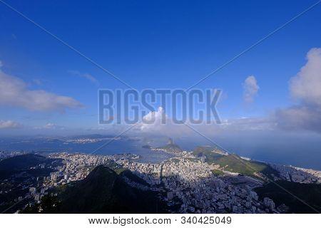 Aerial Panoramic View Of Rio De Janeiro From Corcovado, Brazil, South America