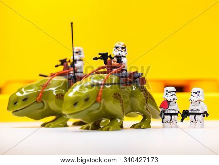 RUSSIA, SAMARA, April 05, 2019. Constructor Lego Imperial Stormtrooper Rides a Rosospinnik - Star Wars Episode 4