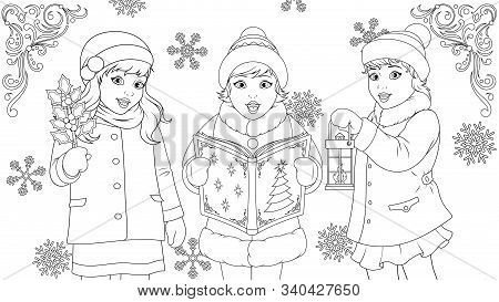 Funny Kids Singing For Christmas, Coloring Book, School Children Choir