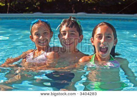 Three Kids In A Pool
