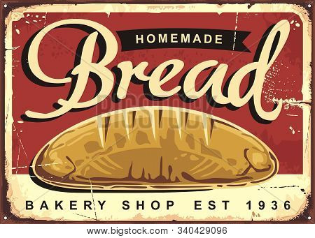 Homemade Bread Vintage Ad Or Sign Design For Traditional Bakery Shop With Whole Bread On Red Backgro