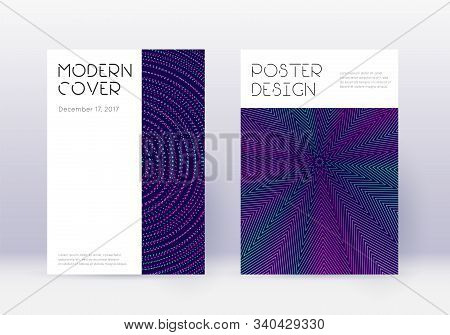 Minimal Cover Design Template Set. Neon Abstract Lines On Dark Blue Background. Dazzling Cover Desig