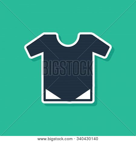 Blue Baby Onesie Icon Isolated On Green Background. Baby Clothes Symbol. Kid Wear Sign. Vector Illus