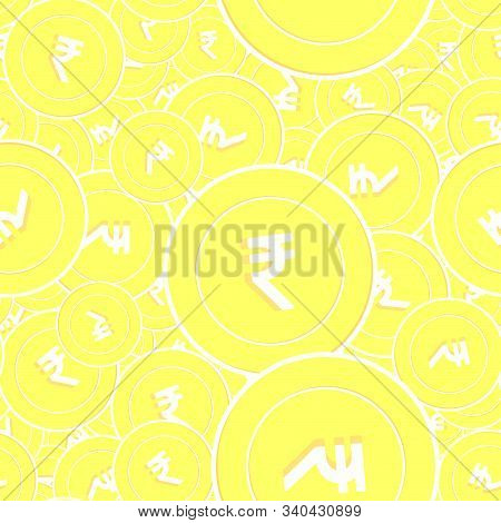 Indian Rupee Gold Coins Seamless Pattern. Enchanting Scattered Yellow Inr Coins. Success Concept. In