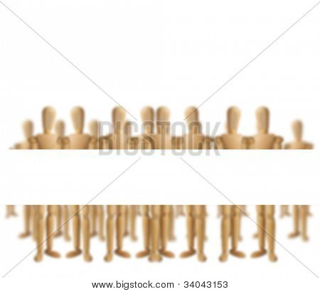 Wooden men holding blank banner for copy (focus on the blank space)