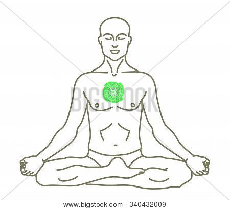 Man And Anahata Chakra On A White Background. Silhouette. Vector Illustration.