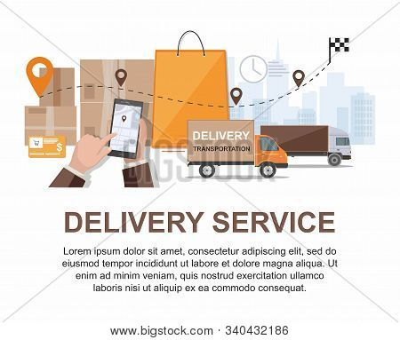 Delivery Service. Business Logistics, Smart Logistics Technologies, Commercial Delivery Service Conc