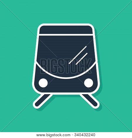 Blue Tram And Railway Icon Isolated On Green Background. Public Transportation Symbol. Vector Illust