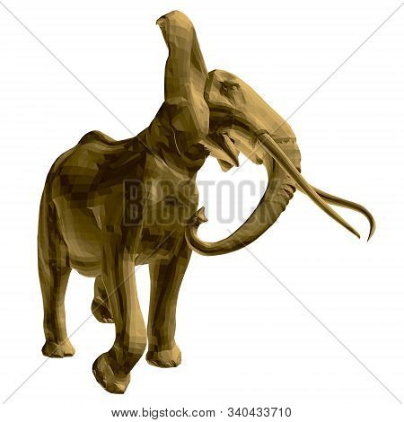 Polygonal Golden Elephant Model. An Elephant Isolated On A White Background Walks Waving Tusks And A