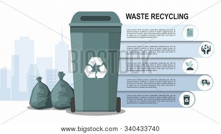 Rubbish Bin For Recycling Different Types Of Waste On City Background. Sort Plastic, Organic, E-wast