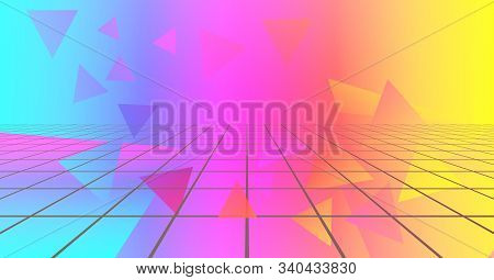 Retro Futuristic Neon Background 1980s Style. Retro Music Album Cover Template With Abstract Laser G