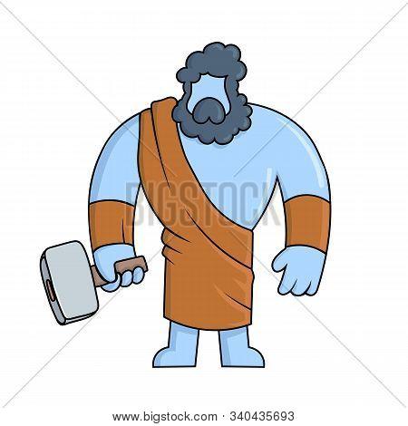 Hephaestus, Ancient Greek God Of Blacksmith And Fire. Mythology. Flat Vector Illustration. Isolated